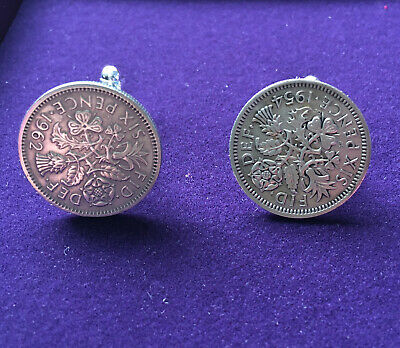 Coin Six Pence Cuff Links Genuine Coins Handmade • 6.99£