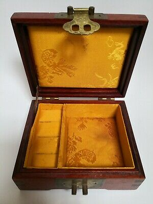Jewellery/Ring Box Wooden & Brass  Hand Made With Clasp Trinket Chest 6x5x3  VGC • 4.99£