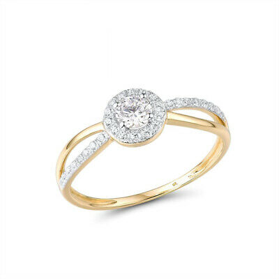 AU1368.84 • Buy 9K 375 Yellow Gold Ring Sparkling Diamond Band Rings Anniversary Fine Jewelry