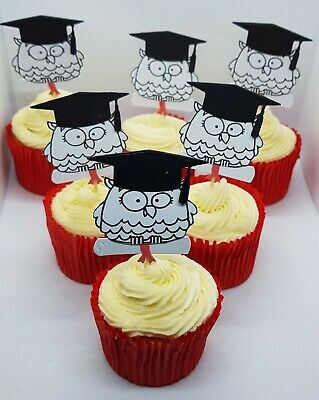 6 X Graduation Owls - Cupcake Picks - Party - Food  Decorations - Cake Toppers • 2.99£