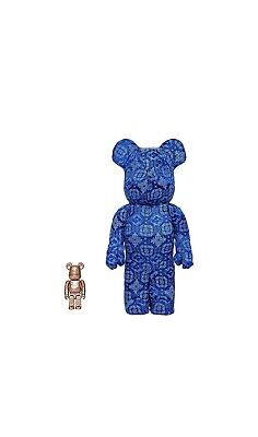 $499 • Buy Bearbrick X Clot X Nike 100% & 400% Set Royale Blue Silk 100% Authentic In Hand