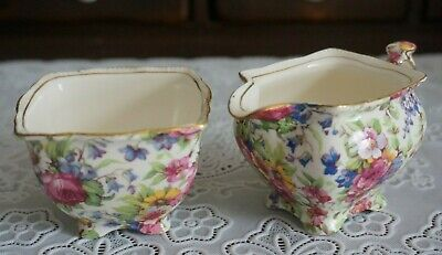 $ CDN56.12 • Buy VINTAGE Rare Royal Winton Grimwades Summertime Chintz Creamer And Sugar Bowl