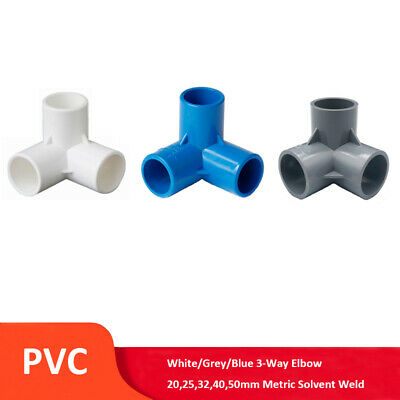 £1.99 • Buy PVC 3-Way Elbow 20,25,32,40,50mm Solvent Weld Pipe Fitting White/Grey/Blue
