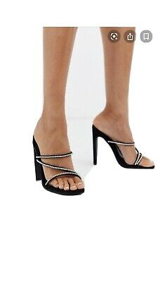 Missguided Black Diamonte Mules Heels Shoes Size 6 Worn Once • 8£