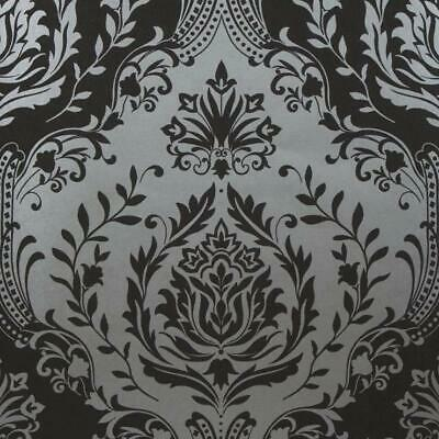 Berkeley Damask Wallpaper Silver Black Charcoal Glitter Flower Embossed Textured • 9.99£