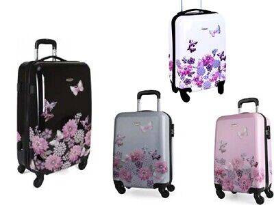 Hard Shell 20  Cabin Case Butterfly 4 Wheel Spinner Trolley Luggage Suitcase • 34.99£