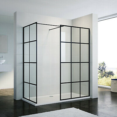 £93.99 • Buy Walk In Shower Enclosure And Tray Wet Room Mattblack Screen Side Panel Cubicle