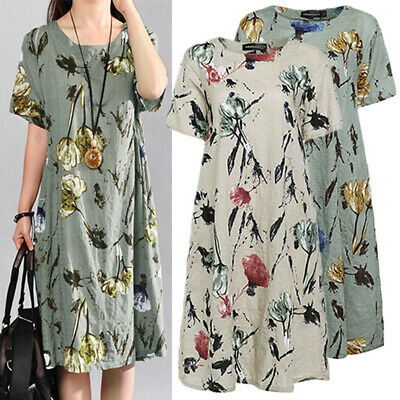 AU16.14 • Buy Women Plus Size Sundress Knee Length T-Shirt Dress Beach Club Floral Print Dress