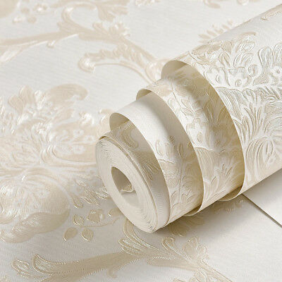 QUALITY IVORY WHITE GLITTER EMBOSSED DAMASK FLORAL PATTERN 3D WALLPAPER 53cmX10m • 8.98£
