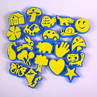 Painting Sponge Shapes Stampers Easy Hold Kids Art Set Of 24 Craft Foam Stamps • 10.69£
