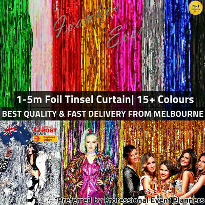 AU3.85 • Buy Metallic Tinsel Curtain Foil 1m 2m 3m 4m 5m Backdrop Event Party Decoration AUS