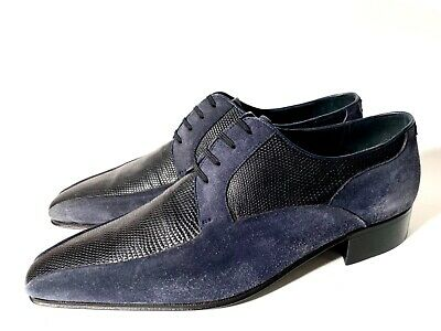 $ CDN501.11 • Buy New Artioli Black Lizard Leather + Blue Suede Leather Shoes Size 40, UK-6, US-7