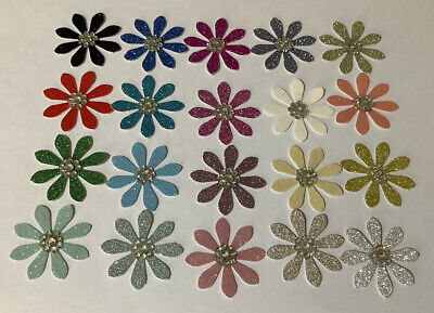 20 X Handmade Daisy Glitter Paper Flower Embellishments In Assorted Colours. • 0.99£