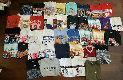 $ CDN593.05 • Buy 40 Mixed Lot Of T-Shirt VTG 80s, 90's, 2000's Bundle Wholesale Mixed Sizes Tees