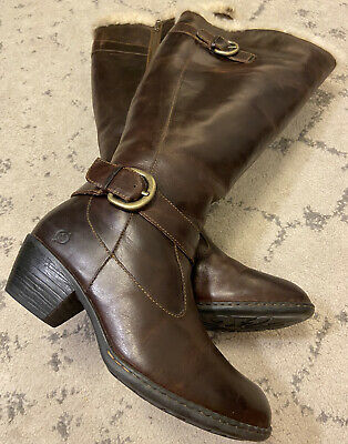 $119 • Buy Born Gira Brown Canoe Shearling Lined Leather Knee Boots Womens SIZE 9 $270 X6