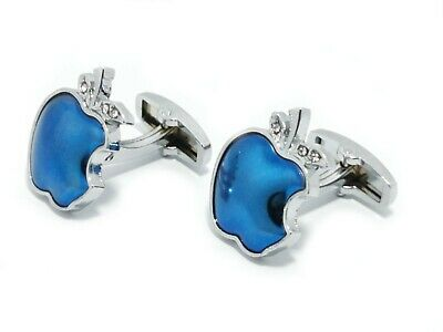 Silver Blue Apple Cufflinks For Men And Women With FREE Gift Pouch  • 7.99£