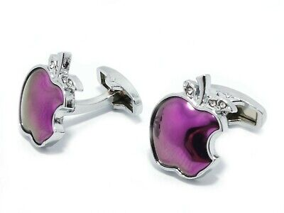 £6.99 • Buy Silver Pink Apple Cufflinks For Men And Women With FREE Gift Pouch