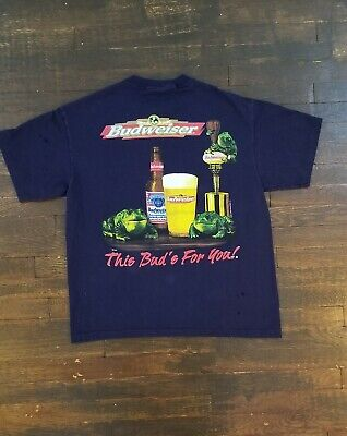 $ CDN46.66 • Buy Vintage VTG 1997 Budweiser Frogs This Bud's For You Beer Tee Shirt Size XL