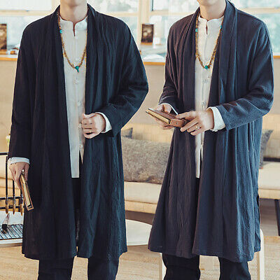 $31.49 • Buy Chinese Style Men's Loose Cotton Linen Cardigan Coats Long Robes Loose Outerwear