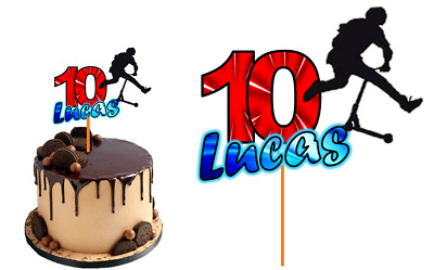 Scooter Boy Cake Topper Personalised Name Age Glossy Cardstock Decoration • 7.76£