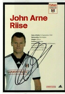 John Arne Riise Hand Signed Photo & COA Fulham FC  • 10.95£