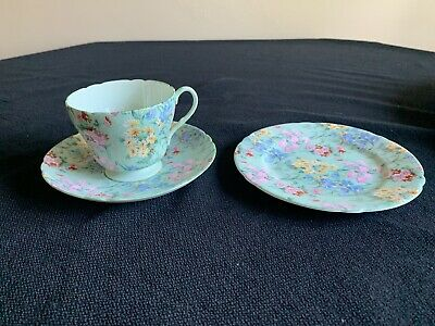 Shelley Vintage Melody Chintz Teacup, Saucer And Dessert Plate • 45.58£