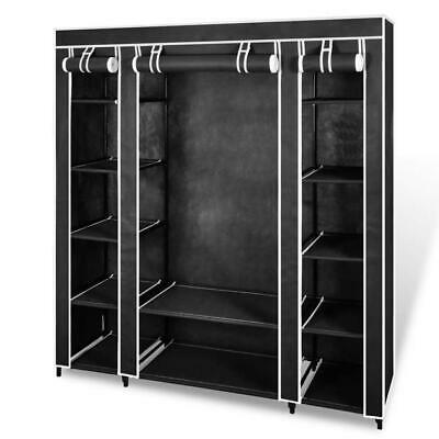 AU79.95 • Buy Portable Fabric Wardrobe Cabinet Multi Shelves Closet Hanging Clothes Rail Black