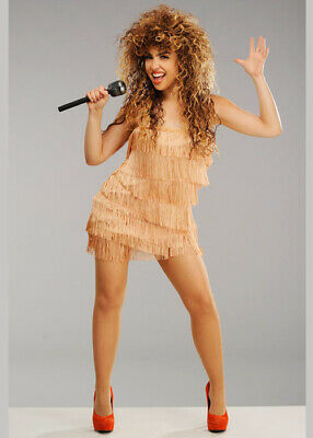 Womens 80s Fringed Tina Turner Style Costume DRESS ONLY • 27.49£