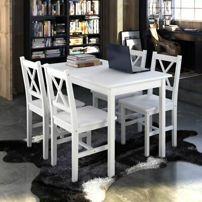 AU315.95 • Buy 5 Pcs Dining Table And Chairs Set 4 Seater Solid Wood Kitchen Furniture White