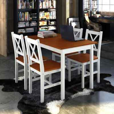 AU322.95 • Buy 4 Seater Kitchen Dining Set Solid Wood Table And Chairs Furniture Stained Finish