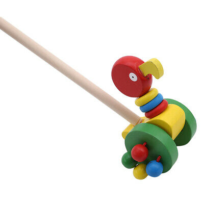£5.85 • Buy Wooden Cute Animal Push Pull Along Toys Puzzle Trolley Pushing Baby Kids Toys B1