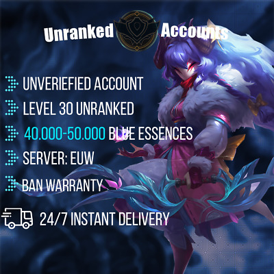 £2.54 • Buy League Of Legends Account EUW 40-50k BE Lol Smurf Lvl 30+ UNVERIFIED Unranked