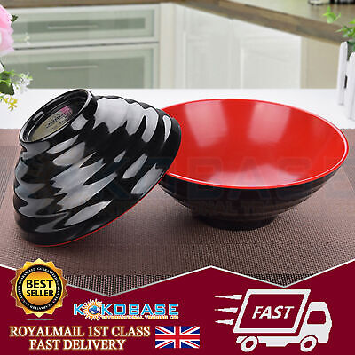 1x Black Oriental Chinese Japanese Ramen Noodle Plastic Bowls Rice Bowls Dishes • 6.45£