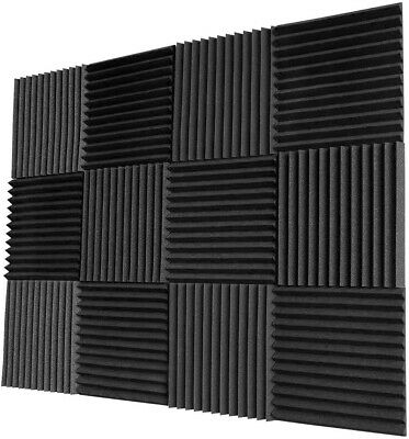 £23.79 • Buy 12 Pack Acoustic Panel Tiles Sound Proofing Foam Pads Home Studio Wall Treatment