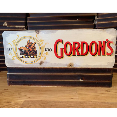 WOODEN GORDONS GIN Sign Bar Retro Kitchen Garage Pub Drink Wall Shed Wood Plaque • 11.99£