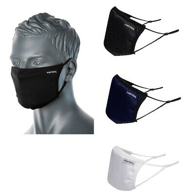 Portwest CV33 Anti-Microbial 3 Layer Ply Reusable Fabric Face Mask Adjustable  • 3.49£