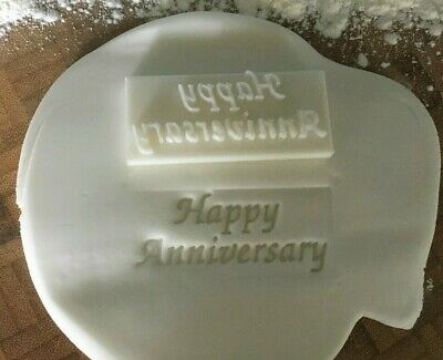 £3.79 • Buy Happy Anniversary Cookie Embossing Stamp / Fondant / Icing