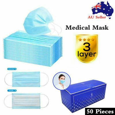 AU25.95 • Buy 50 Pcs CE Certified Surgical Face Mask Protective 3 Layer Anti Bacterial Filter