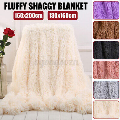 Large Soft Warm Fluffy Shaggy Blanket Faux Fur Throw Sofa Bed Double Bedspread • 23.86£