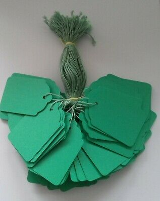 100 Green Strung Price Tags 69mm X 44mm Swing Tickets Gift Labels Green String • 2.40£