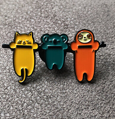 Sloth, Cat And Koala Hanging On Branch - Enamel Pin Badge - Brand New! • 2.25£