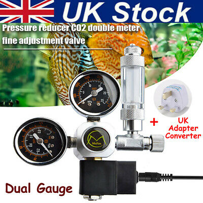 Dual Gauge CO2 Pressure Regulator Bubble Counter Aquarium System Solenoid Valve • 44.99£