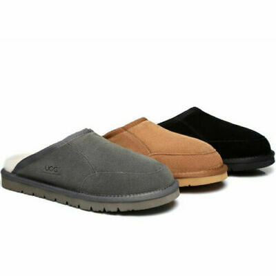 AU45.99 • Buy UGG Men Slippers Scuffs Bred Suede Upper & Premium Wool Lining, Water Resistant