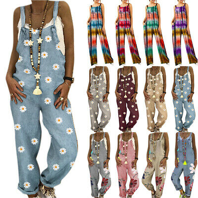 AU34.76 • Buy Womens Ladies Dungarees Jumpsuit Loose Wide Leg Pants Casual Overall Playsuit AU