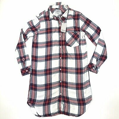 AU56.77 • Buy NWT Rails Women's Red White Plaid Long Sleeve Button Down Shirt Dress Sz XS