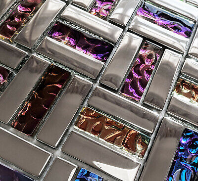 New Blue Red Purple Foil Glass Metal Chrome Silver Rectangle Mosaic Wall Tiles. • 8.98£