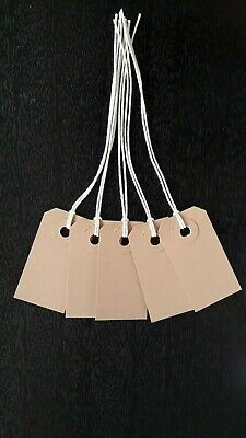 £1.60 • Buy 25 Buff Strung Tags 54mm X 29mm Tie On Parcel Gift Labels Price Tickets