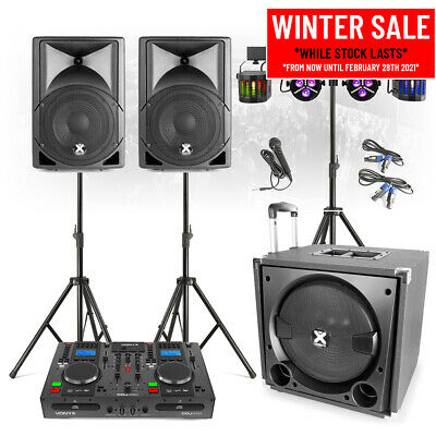 VX800 Mobile DJ Set PA Speakers System With Twin CD Mixer, Lights And Micophone • 699£
