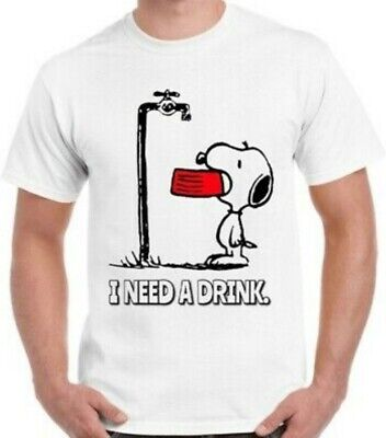 £5.99 • Buy Snoopy T-Shirt Funny Charlie Brown Art I Need A Drink Cool Vintage Retro Unisex