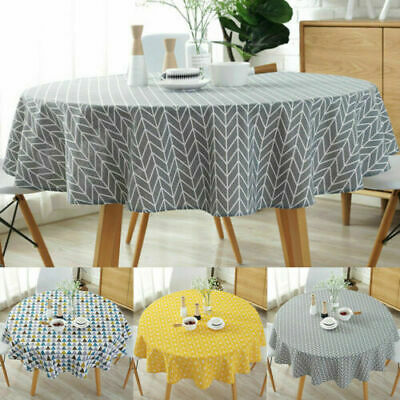 Round Table Cloth Cotton Linen Household Garden Dining Tableware Party Supplies  • 8.89£